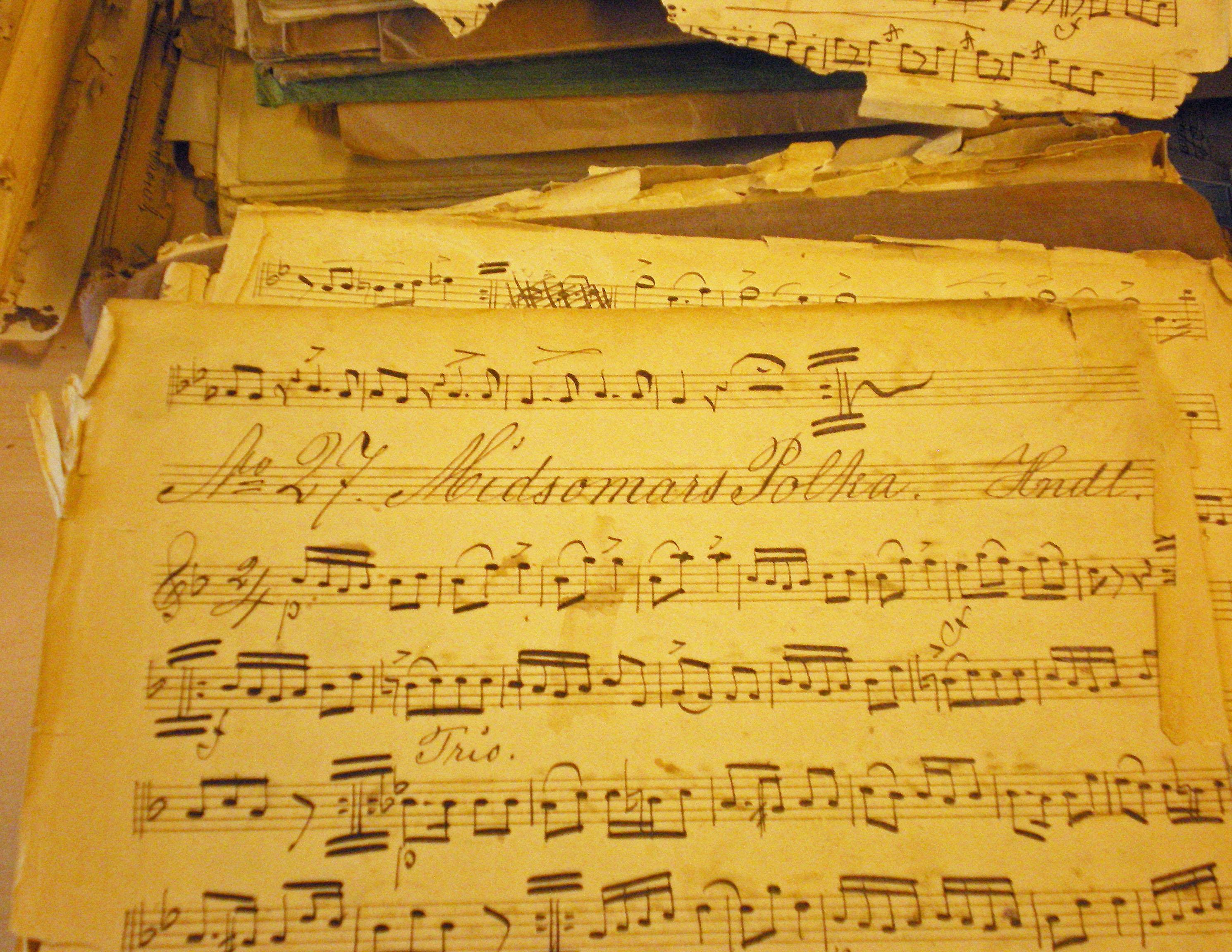 Noter från Jonsereds Musikkår. Foto: Jonas Andersson.
